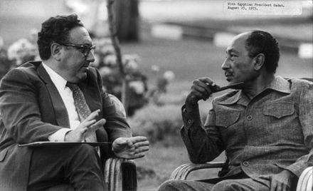 Egyptian leader Anwar Sadat with Henry Kissinger in 1975 Henry Kissinger with Anwar Sadat cph.3b13868.jpg