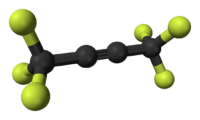 Ball-and-stick model of hexafluorobut-2-yne