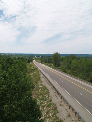Ontario Highway 26 - Highway 26 facing west towards Owen Sound; the highway dives through several large valleys between here and Meaford.