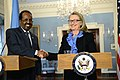 Hillary Clinton with Hassan Sheikh Mohamud U. S. State Department 2013-01-17 01.jpg