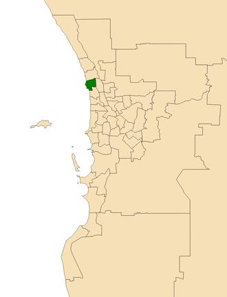 Electoral district of Hillarys - Location of Hillarys (dark green) in the Perth metropolitan area