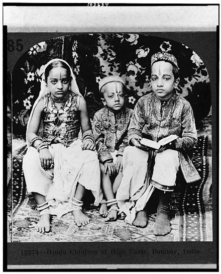 A 1922 stereograph of Hindu children of high caste, Bombay. This was part of Underwood & Underwood stereoscope journey of colonial world. This and related collections became controversial for staging extreme effects and constructing identities of various colonised nations. Christopher Pinney remarks such imaging was a part of surveillance and imposed identities upon Indians that were resented.[111][112][113] - Caste system in India