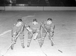 Elmer Lach - The Broken Bone line: Maurice Richard, Elmer Lach and Tony Demers in 1942