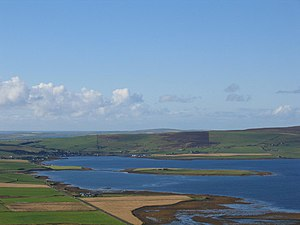 Holm of Grimbister - Holm of Grimbister from the east with Finstown beyond