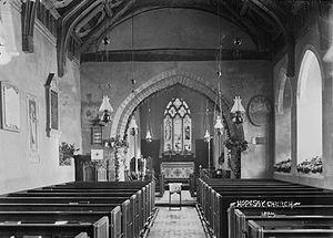 St Mary's Church, Hopesay - Interior of Hopesay church c.1910's