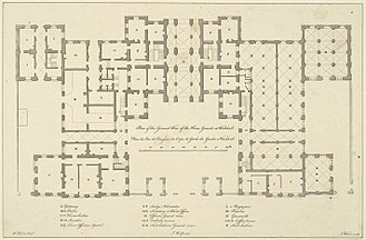 Horse Guards (building) - A plan of William Kent's design for the new Horse Guards, dated 1750, the year that work commenced but after Kent's death.