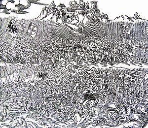 Battle of Grunwald - Engraving of the Battle of Grunwald by Marcin Bielski, Kronika wszytkiego świata, 1554
