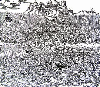 Battle of Grunwald - Engraving of the Battle of Grunwald by Marcin Bielski, Kronika wszytkiego świata, 1554.