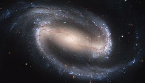 NGC 1300, an example of a barred spiral galaxy.  Credit:Hubble Space Telescope/NASA/ESA.