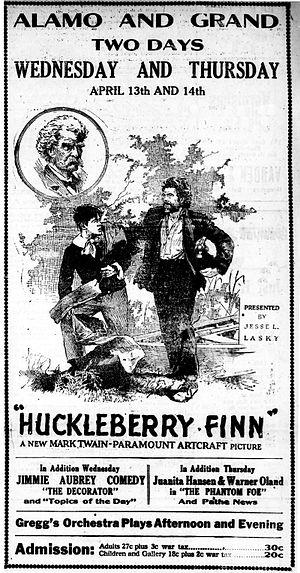 Huckleberry Finn (1920 film) - Newspaper advertisement