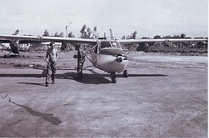 Tây Lộc Airfield - O-2A of the 20th TASS taxiing for takeoff, Huế Citadel Airfield, July 1967