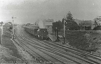Eastern Suburbs & Illawarra Line - A steam service stands at Hurstville c. 1910. This was typical of the services on the line before the introduction of electric services.