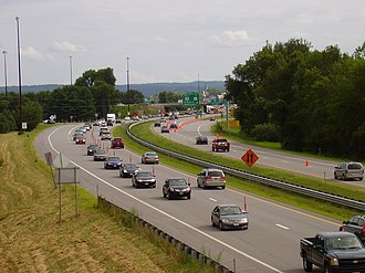 Contraflow lane reversal - Contraflow lane reversal in operation on I-93 in Concord, New Hampshire after completion of a NASCAR race at New Hampshire Motor Speedway, looking south.