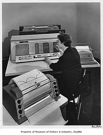 IBM 1627 - IBM 1620 data processing machine with IBM 1627 plotter, on display at the Seattle World's Fair, 1962