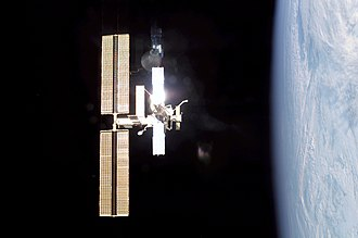Expedition 4 - ISS as seen from Shuttle Endeavour during Expedition Four. (NASA)