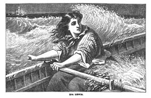Ida Lewis - Illustration of Ida Lewis rowing by Phebe Ann Hanaford