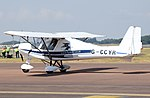 Ikarus C42 ultralight (G-CCYR) arrives at RIAT Fairford 12July2018 arp.jpg