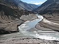 Incredible India, high in the dry desert of the Trans Himalaya water^ The little Indus river left flows into the Zanskar river - panoramio.jpg