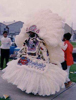 Mardi Gras Indians - Mardi Gras Indian getting ready
