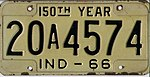 Indiana 1966 license plate - Number 20A4574.jpg