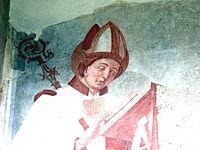 Innichen Stiftskirche - Romanisches Südportal 6 Fresco St.Kobinian.jpg