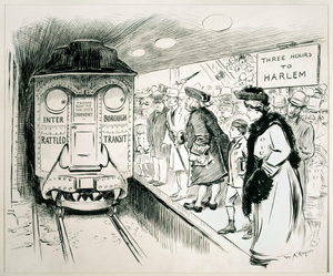 "Early history of the IRT subway - Political cartoon critical of the service of the IRT in 1905. The IRT is labeled as the ""Interborough Rattled Transit"". Diedrich Knickerbocker, personification of New York City, stands on the platform."