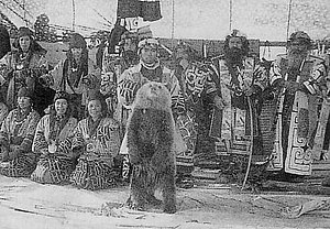 Bear worship - The Ainu Iomante ceremony around 1930