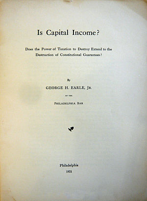 Capital (economics) - Image: Is Capital Income, Earle, 1921 cover