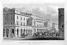 King's Theatre, London (aka Italian Opera House) by Thomas Hosmer Shepherd, 1827–28 (Source: Wikimedia)