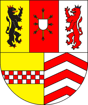 John William, Duke of Jülich-Cleves-Berg - upper: left Jülich, center Cleves, right Berg, down: left La Mark, right Ravensberg