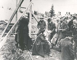 Moose River Gold Mines, Nova Scotia - Image: J. Allister Bowman, district plant superintendent, Maritime Tel & Tel, using earphones for word from entombed men in Moose River Mine Disaster, Nova Scotia, Canada, April 1936