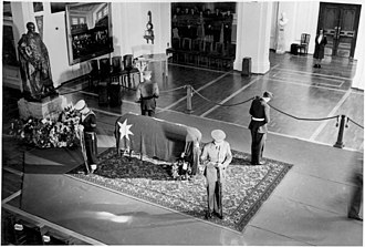 John Curtin's coffin lying in state in Parliament House, July 1945 JCurtin lay in state.jpg