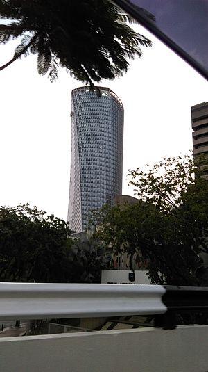 Malaysian Public Works Department - Menara Kerja Raya, the new JKR Headquarters in Kuala Lumpur, seen from Jalan Kinabalu.