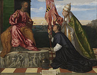 Jacopo Pesaro presented to St. Peter by Pope Alexander VI - Tizian.jpg
