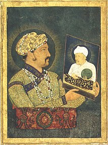 painting of Jahangir (Salim) holding a painting of Akbar