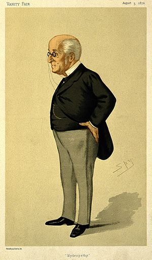 """James Manby Gully - """"Hydropathy"""". Caricature by Spy published in Vanity Fair in 1876."""