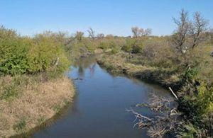 Jamestown, North Dakota - The James River, a Missouri River tributary, in Jamestown