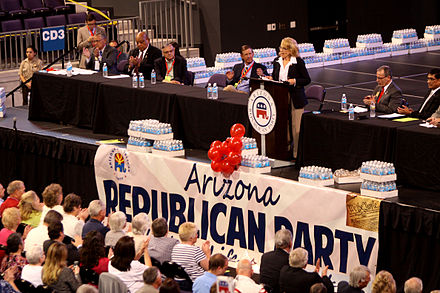 Brewer speaking to the 2012 Republican state convention in Phoenix, Arizona. Jan Brewer by Gage Skidmore 2.jpg