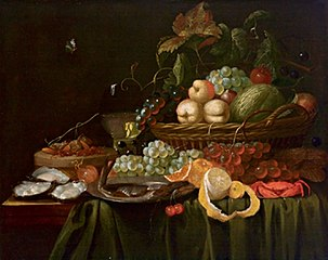 Fruit still life with oysters