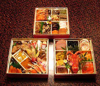 Osechi Assortment of food delicacies celebrating Japanese New Year