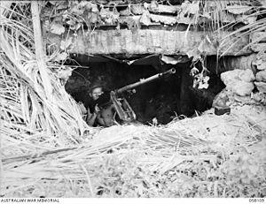 Landing at Scarlet Beach - A Type 1 Heavy Machine Gun in a Japanese pillbox on the coast.