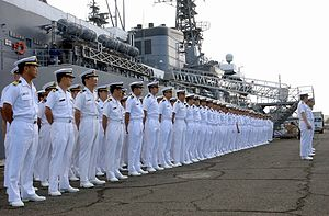 Article 9 of the Japanese Constitution - Sailors of the Japanese Maritime Self-Defense Force, one of the de facto military forces ostensibly permitted under Article 9.