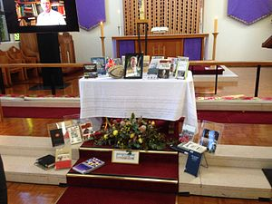 Jeffrey Grey - Memorial service for Jeffrey Grey at the Anzac Chapel at the Royal Military College, Duntroon. His image is surrounded by his books and an autographed rugby ball.