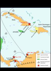 War of Jenkins' Ear map - West Indian theater of war (1739–1742)