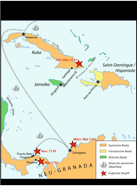 Karte War of Jenkins' Ear - Westindischer Kriegsschauplatz (1739–1742)
