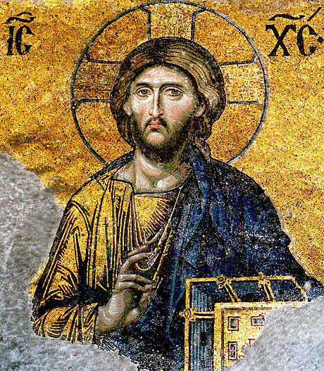 An example of Byzantine pictorial art, the Deësis mosaic at the Hagia Sophia in Constantinople Jesus-Christ-from-Hagia-Sophia.jpg