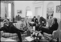 Jimmy Carter meeting with Charles Schultz, Michael Blumenthal, Hamilton Jordan and James Schlesinger in the oval office. - NARA - 178739.tif