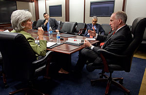 John O. Brennan - Brennan with Kathleen Sebelius and Rahm Emanuel, White House, April 2009