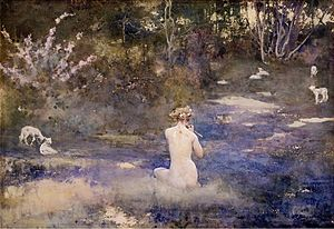 Pastoral - A Pastoral (watercolour, 1905) by John Reinhard Weguelin