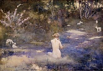 Pastoral - A Pastoral (watercolour, 1905) by John Reinhard Weguelin